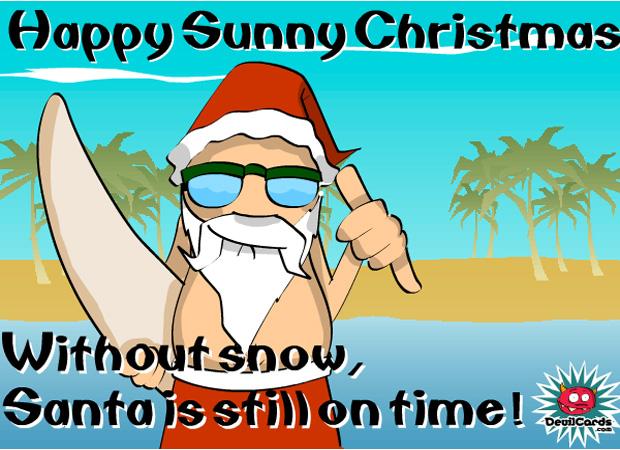 Funny Surfing Santa